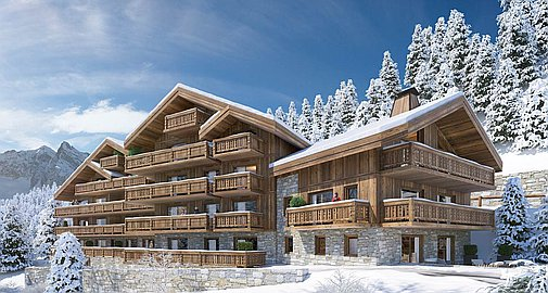 Exterior of building of apartments for sale in Meribel