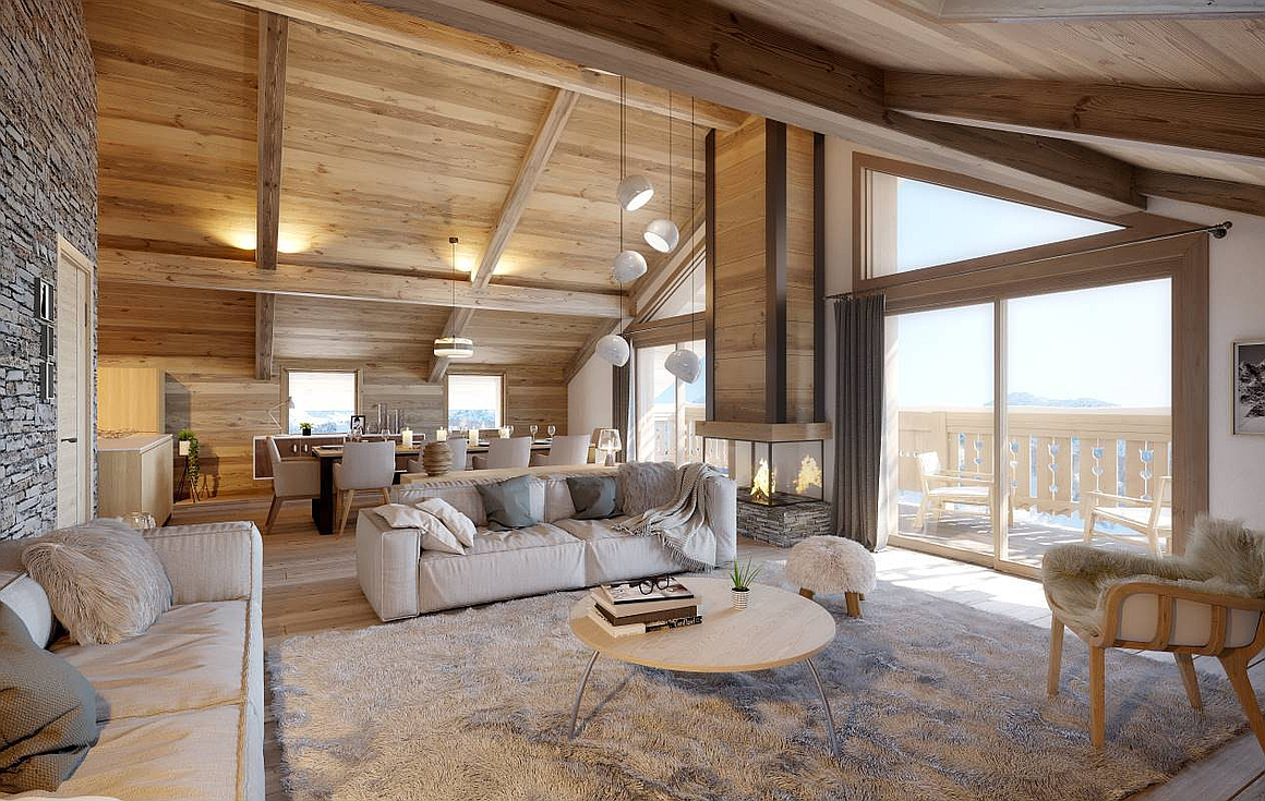 Open plan living area in Meribel apartment