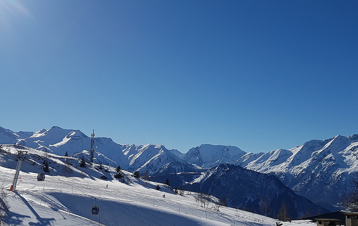 Spectacular views from the apartments for sale in Alpe d'Huez