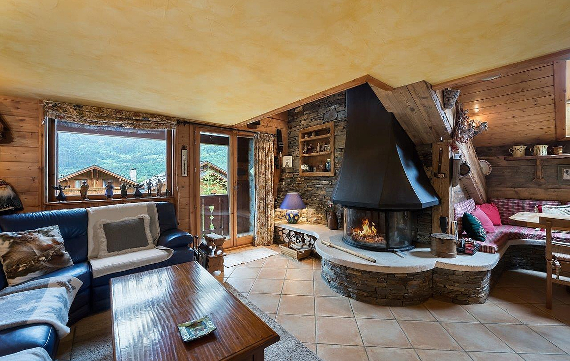 Living area with fireplace and beautiful views