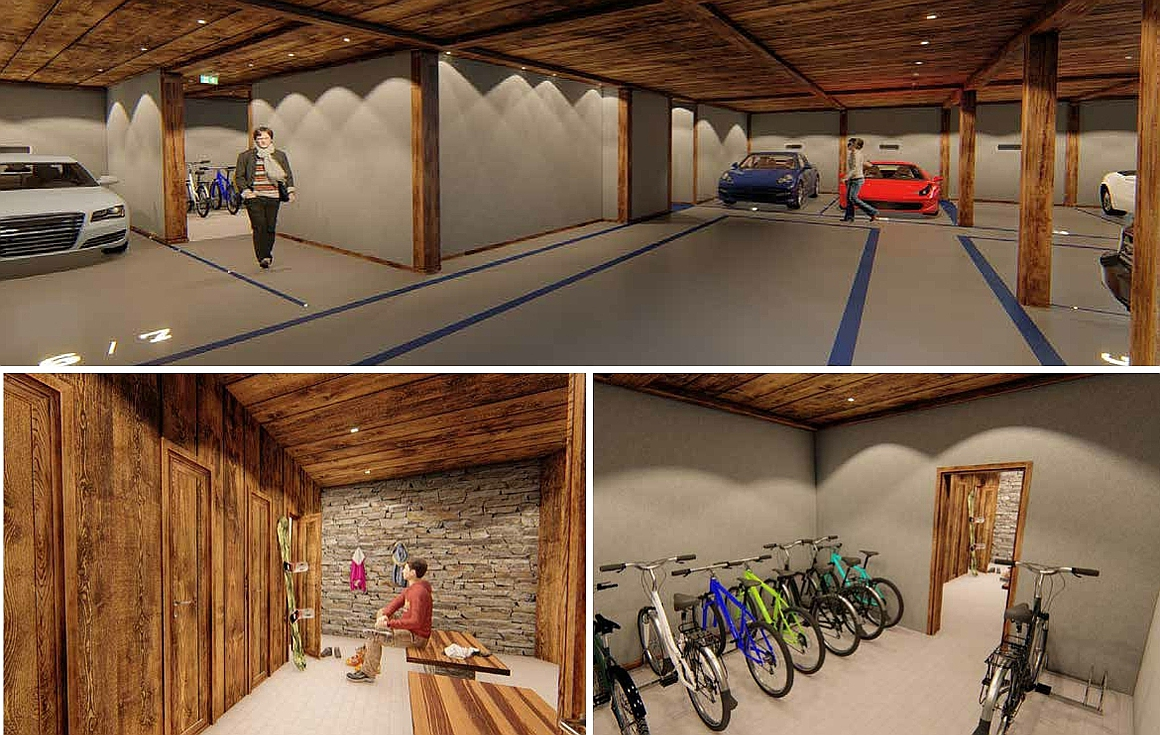 Parking, ski room and cellar