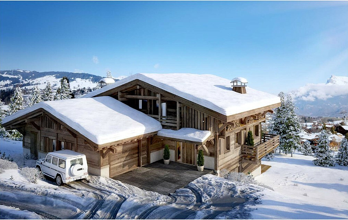 Exterior of chalet for sale in Megeve