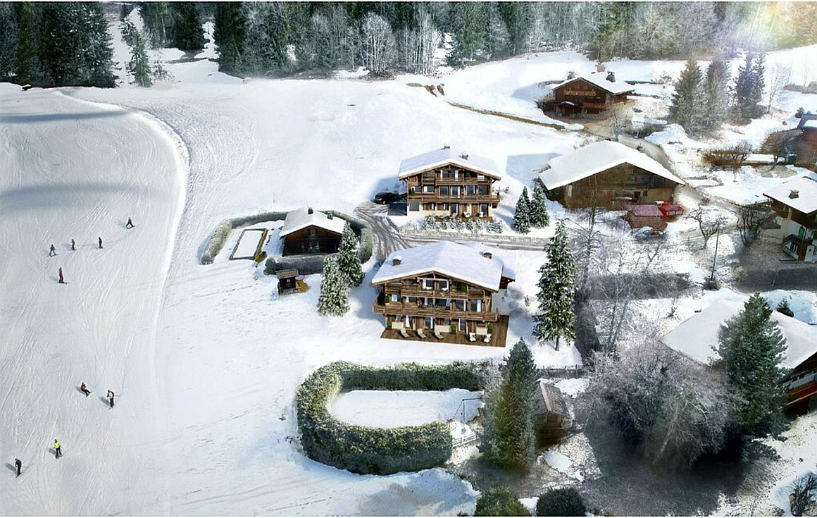 Piste view from the Chalet for sale in Megeve