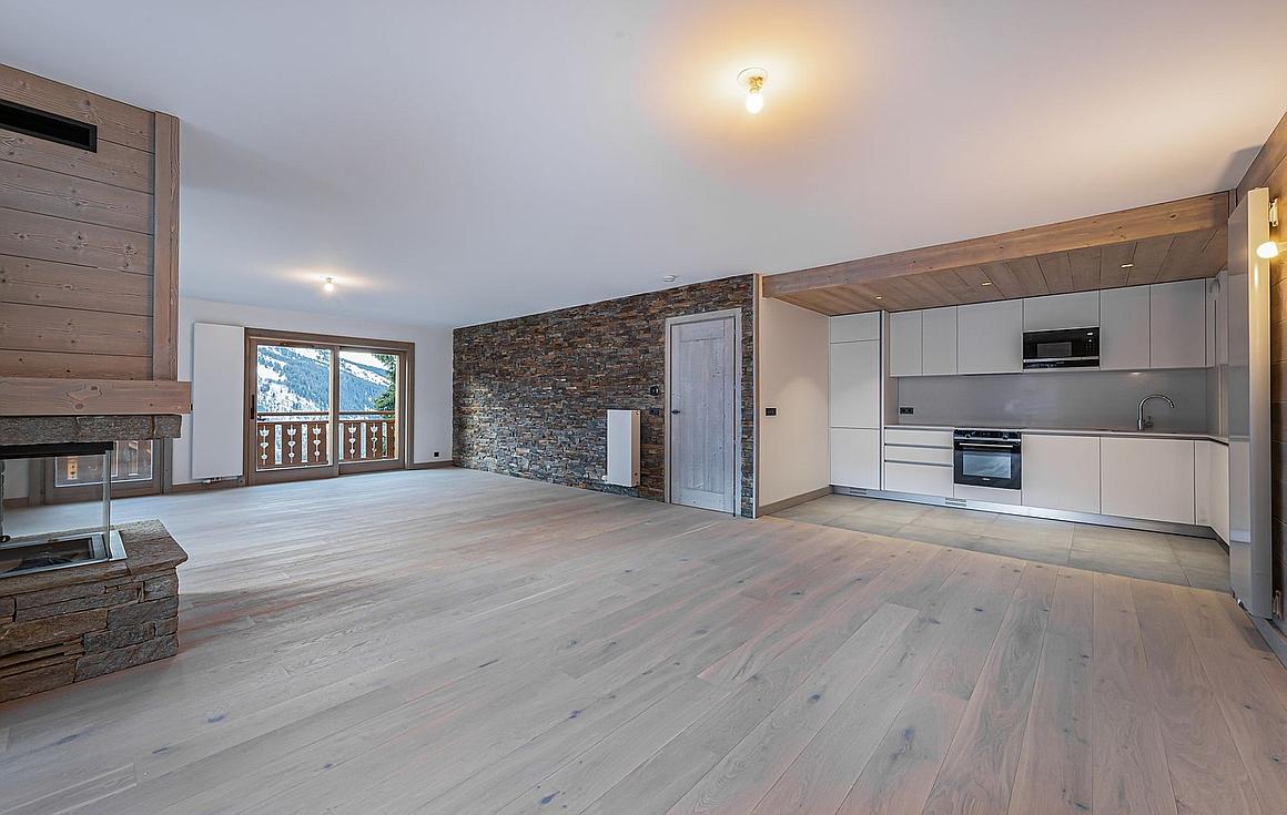 Open plan living area in Meribel apartment