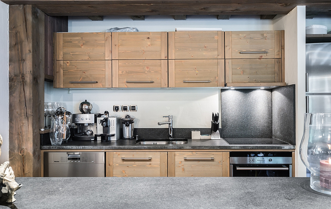 The kitchen of the Courchevel apartment