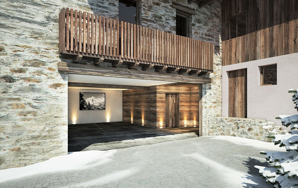 Garage access into the chalet