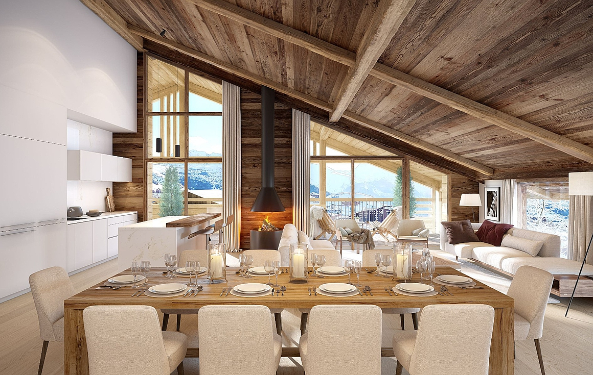 Spacious living areas within Alpe d'Huez apartments for sale
