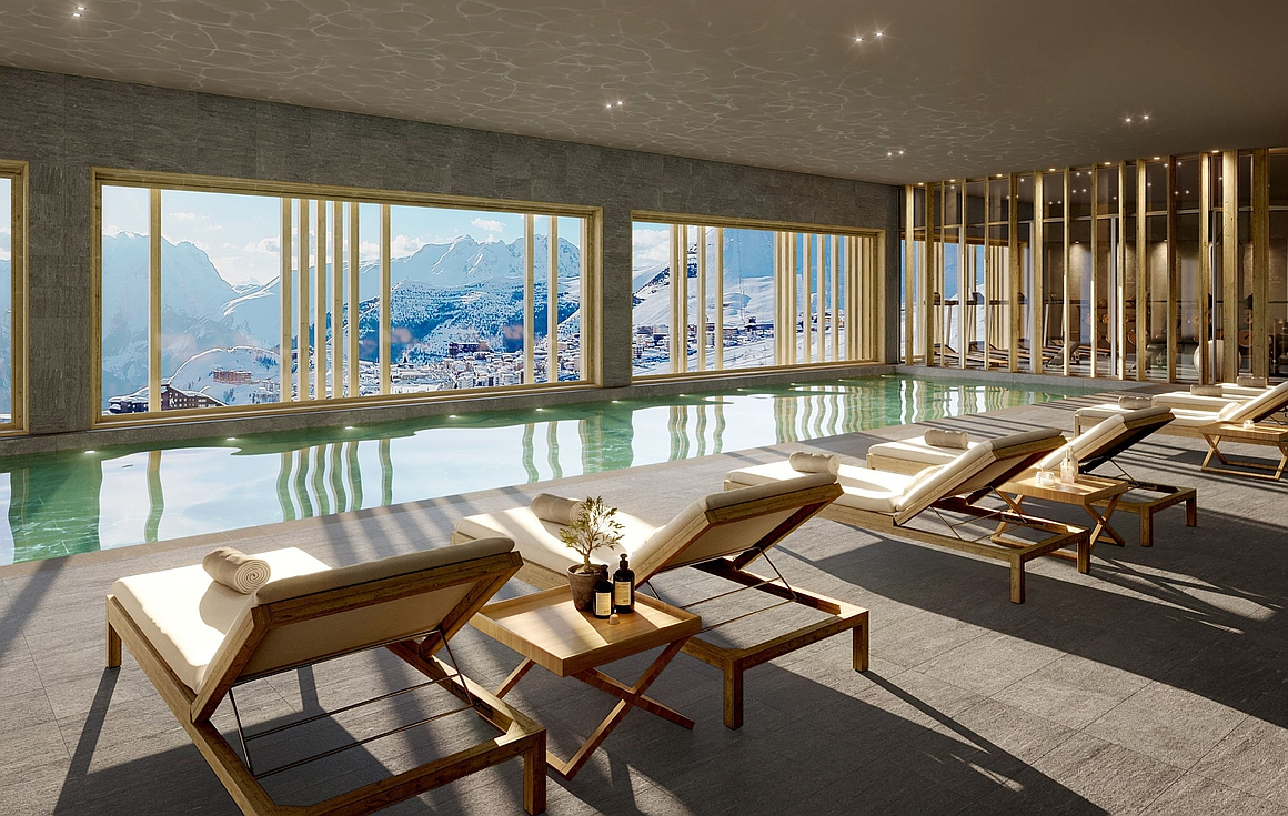 Onsite spa with pool, sauna, hammam and gym