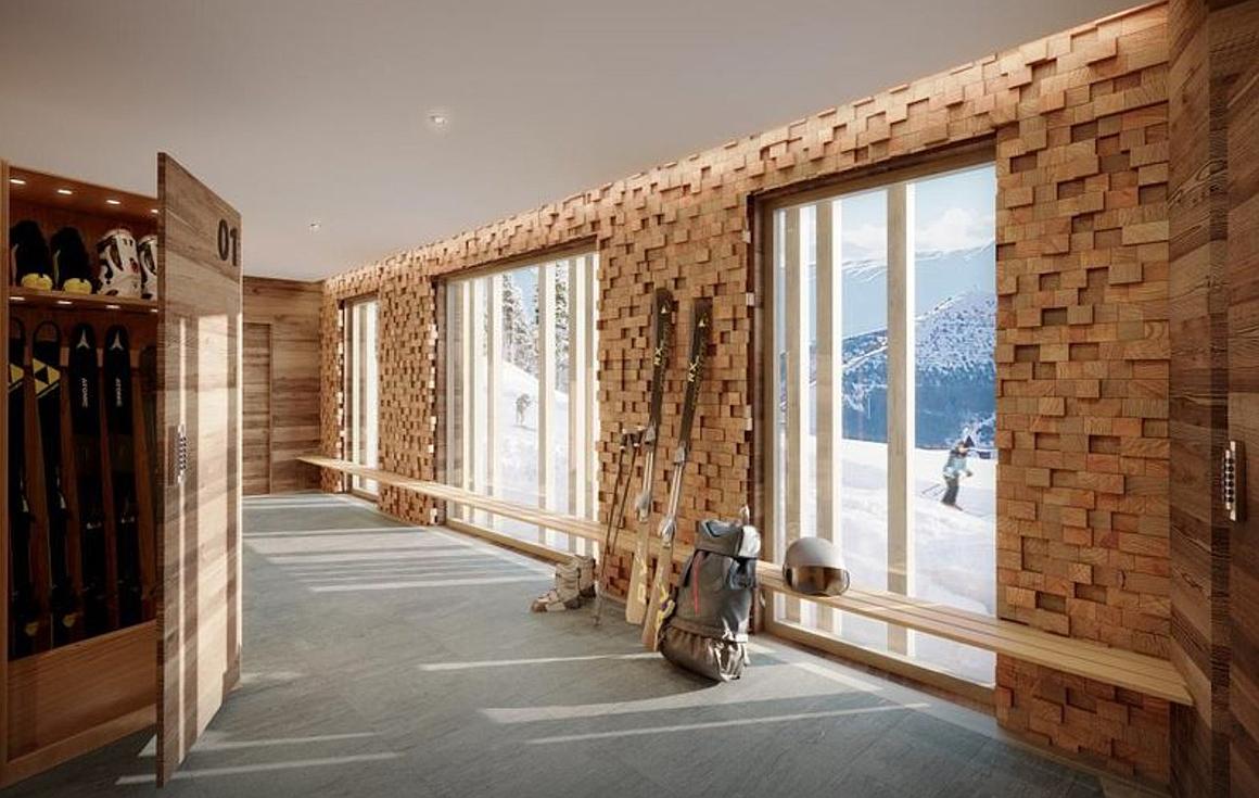 Private lockers in doorstep skiing ski room