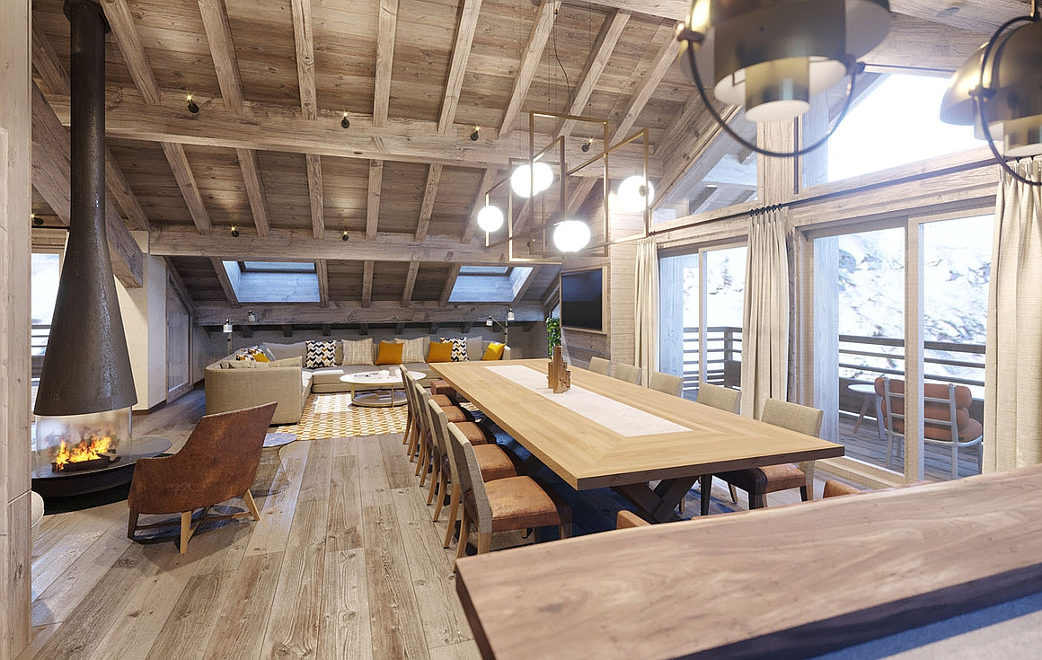 Interiors of chalets and apartments in Meribel