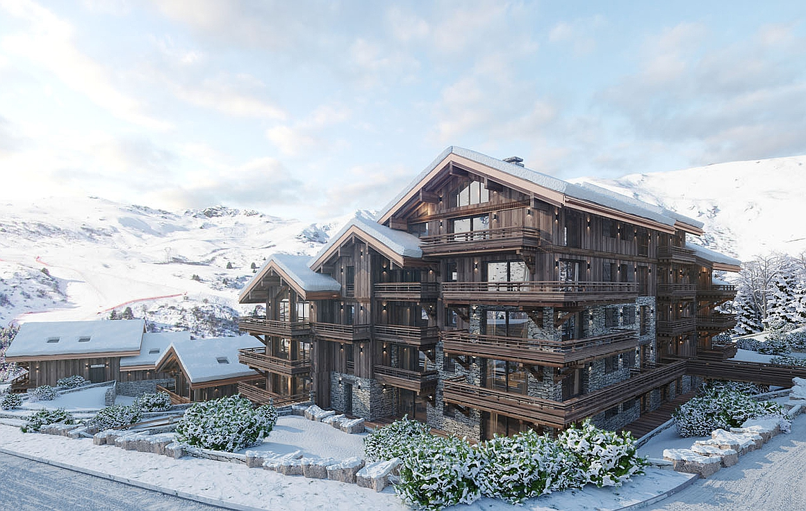 The Meribel apartments next to piste