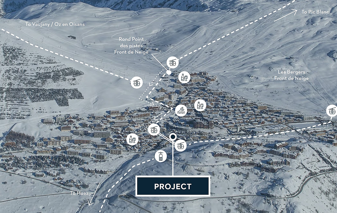 Location of the apartments for sale in Alpe d'Huez
