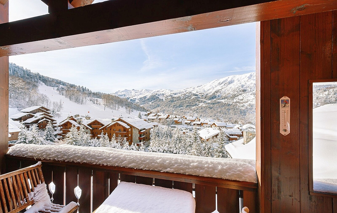 Balcony view of the apartment for sale in Meribel Village