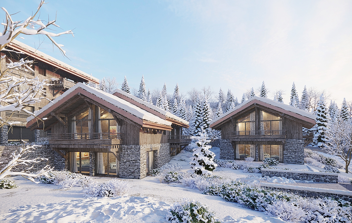 The chalets in the development