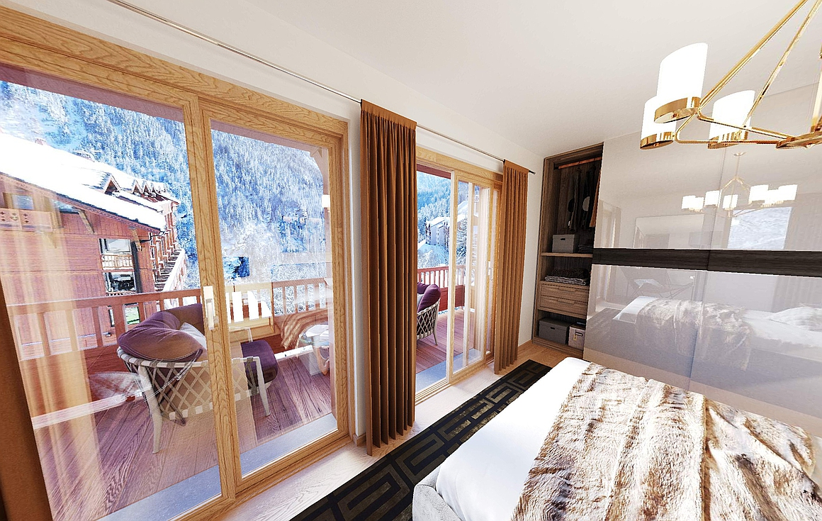 Spectacular bedrooms within the chalets