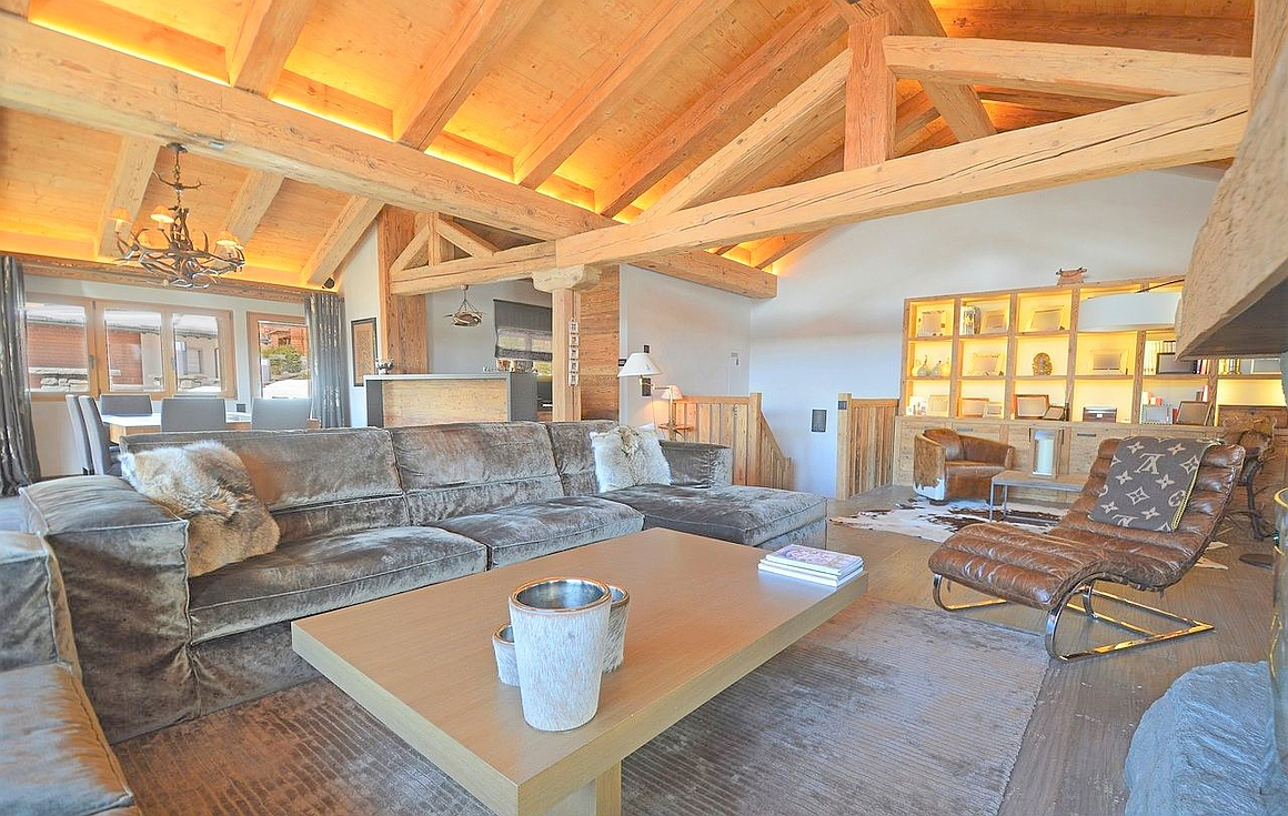 The living spaces inside the chalet