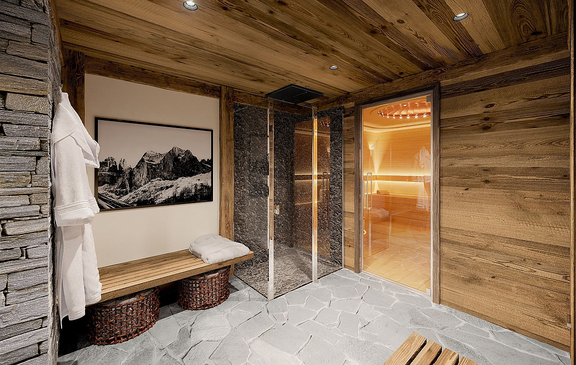 Relaxation area with sauna, hammam