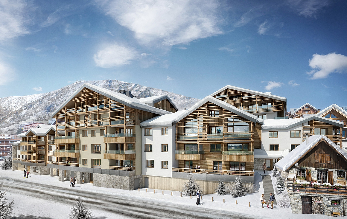 Exterior of apartments for sale in Alpe d'Huez