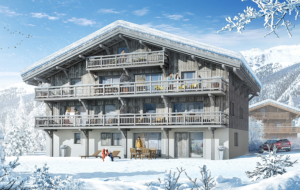 Exterior of apartments for sale in Samoens