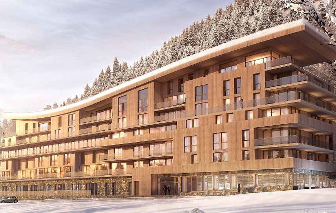 Exterior of apartments for sale Les Arcs