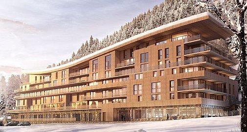 Exterior of apartments for sale Les Arcs