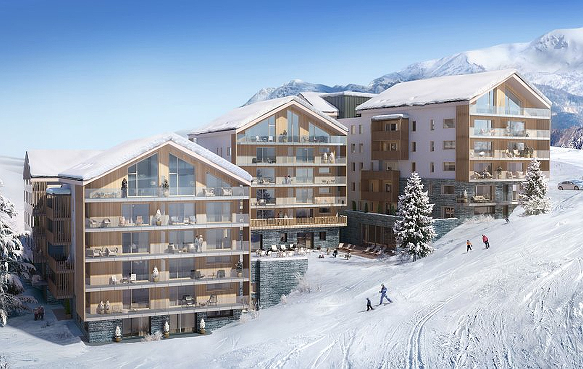 The exterior of the ski in and out apartments for sale in Alpe d'Huez