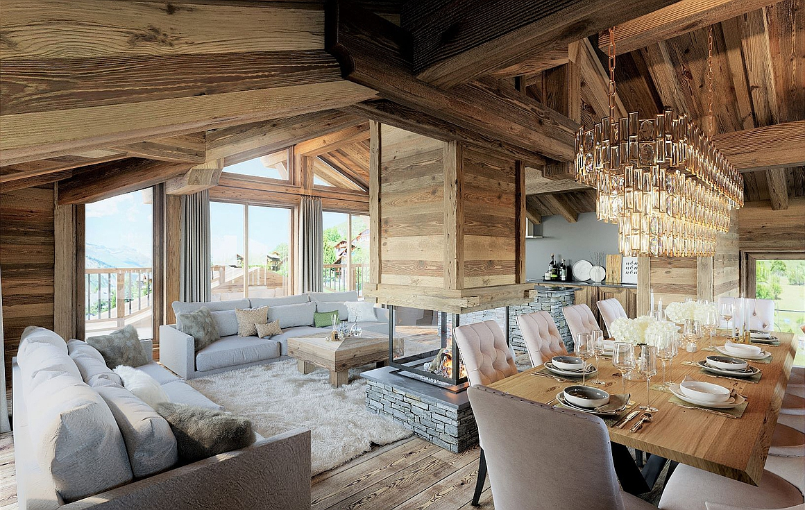 Outstanding living spaces in the chalets for sale
