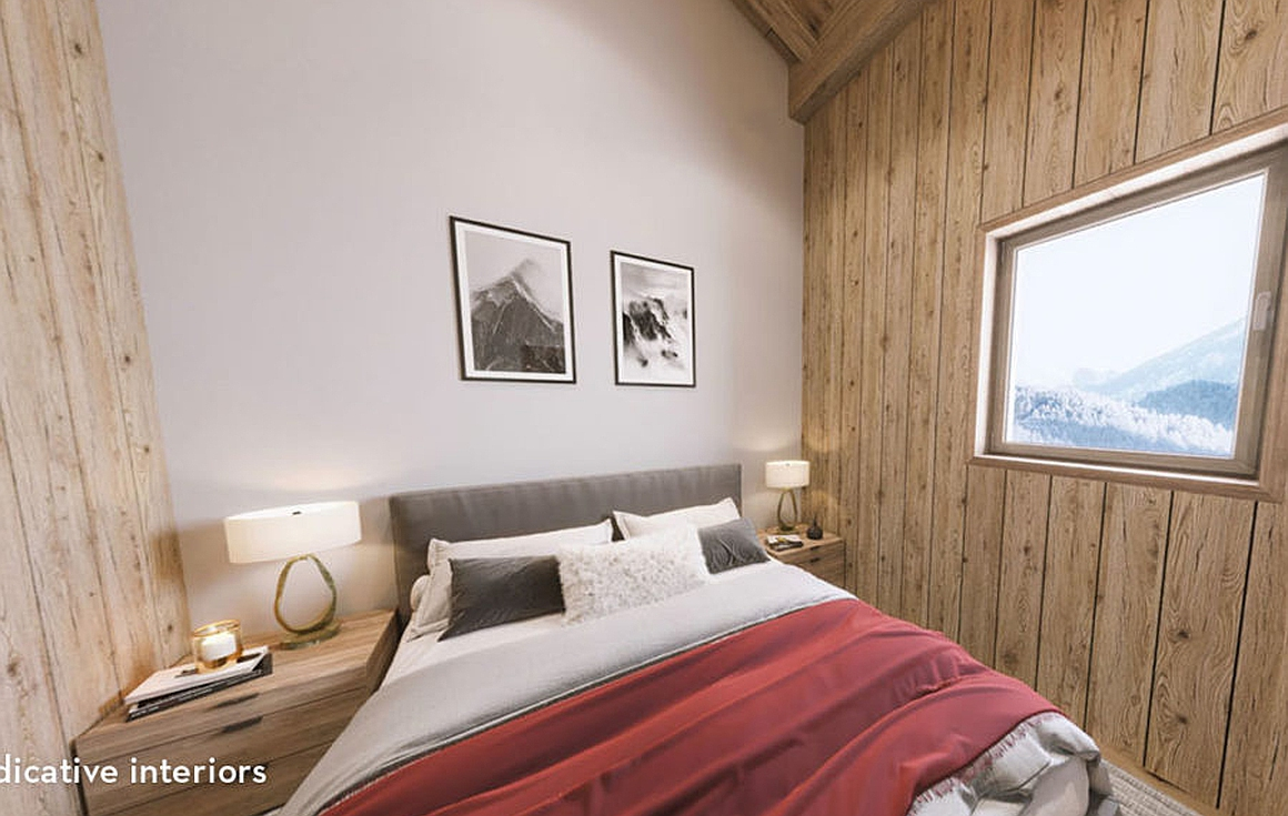 Interior spaces within ski apartments for sale