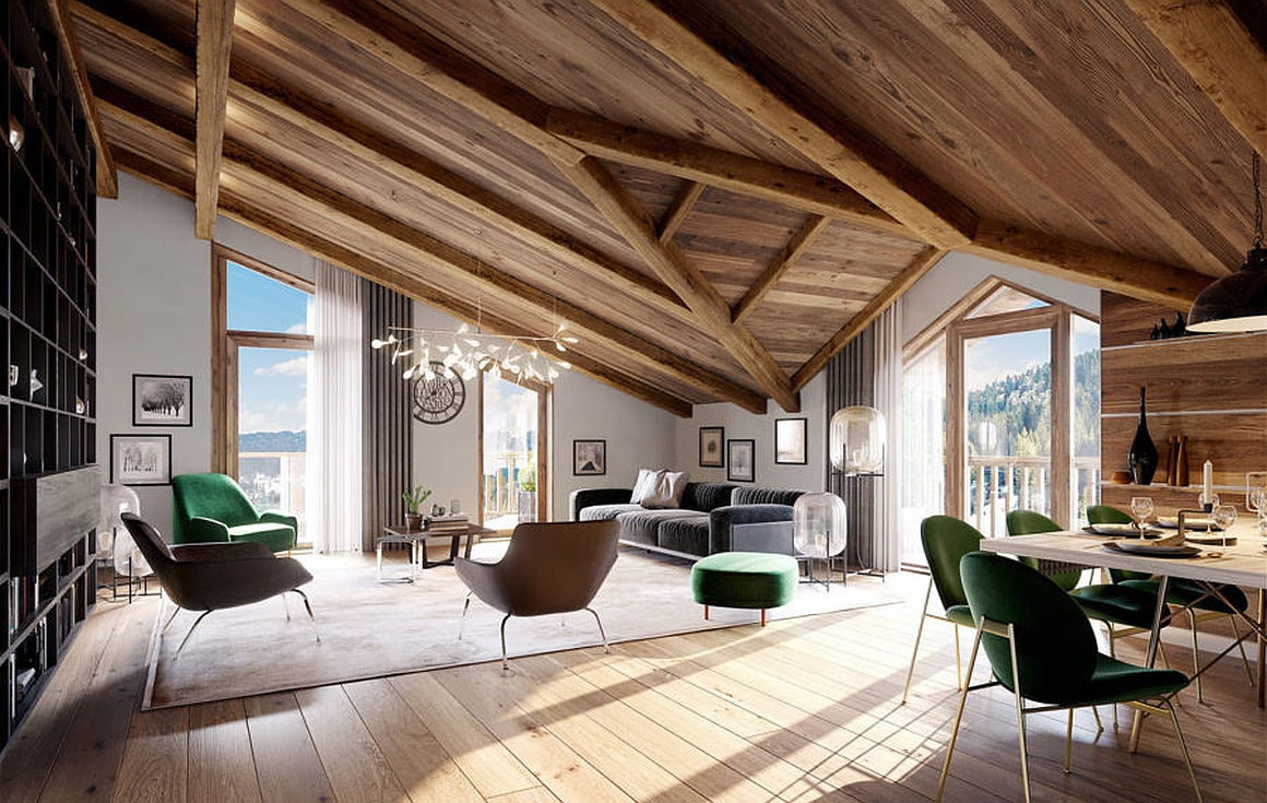 The interior finishes for the chalets