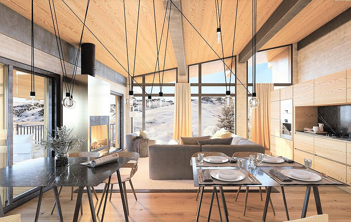 Fantatic interiors of apartments in Les Arcs