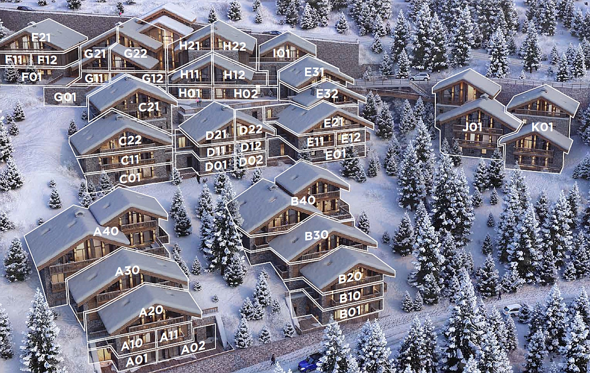 The apartments for sale in Meribel numbered