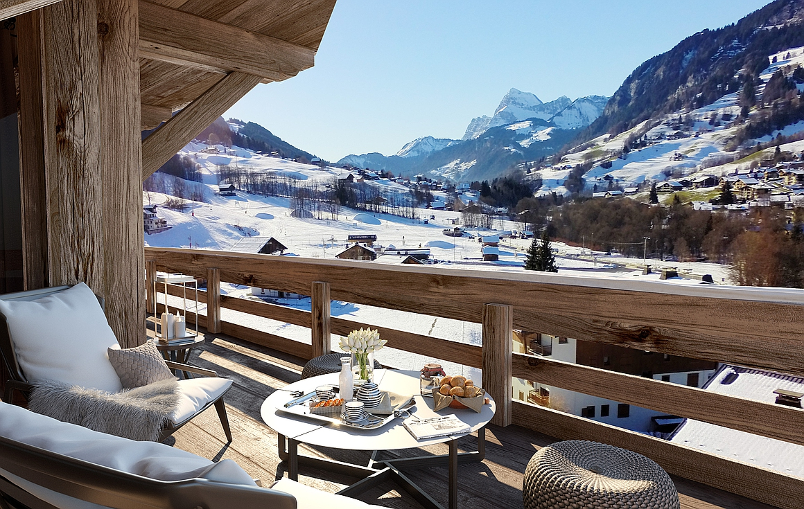 Superb apartment and chalet balcony views