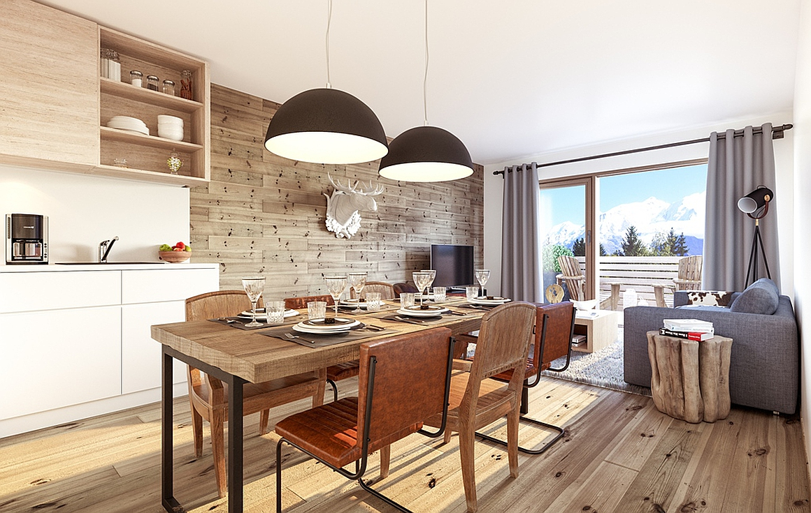 The kitchens and living rooms of the new development
