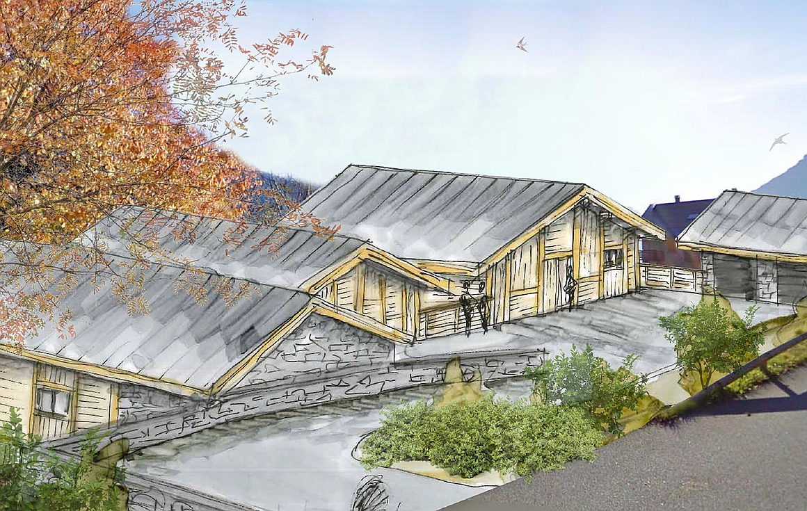 The rear access to the luxury Vaujany chalets for sale