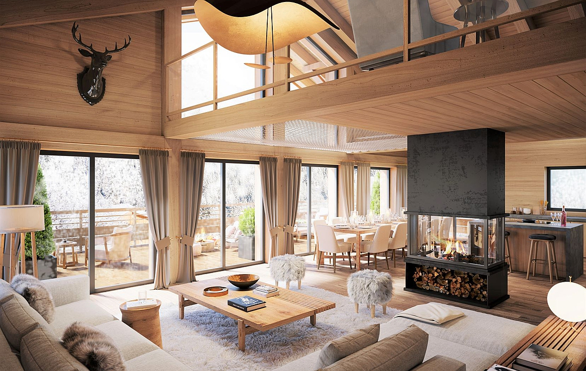 Luxurious finishes inside the chalets for sale in Vaujany