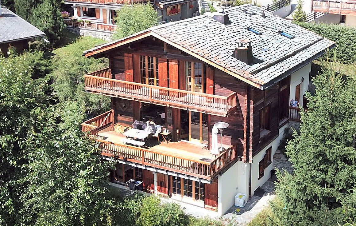 The exterior of the chalet for sale in Verbier
