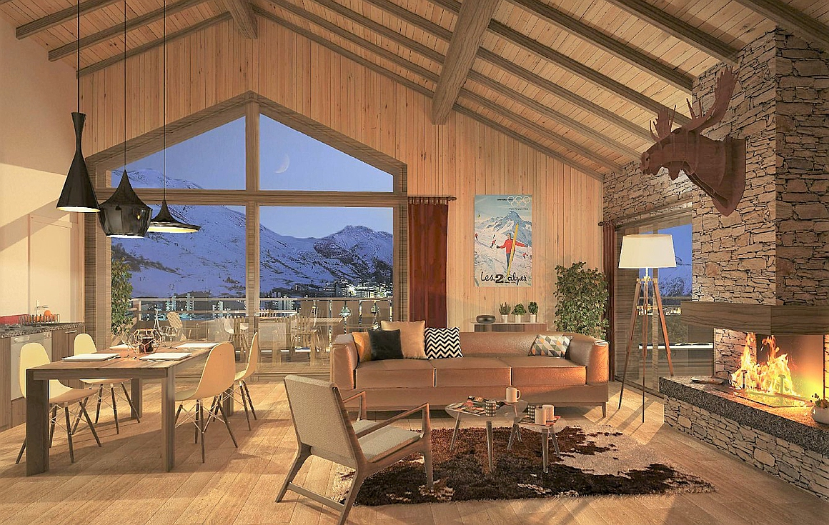 Interiors of the ski apartments for sale
