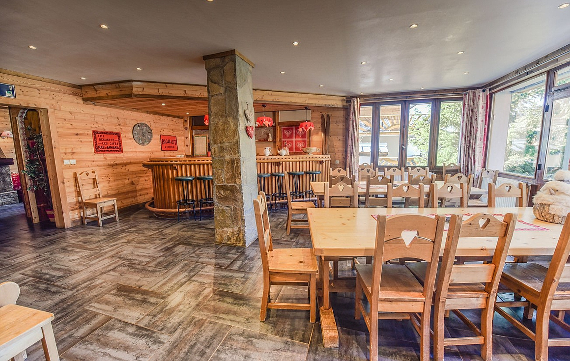 The huge dining area and bar