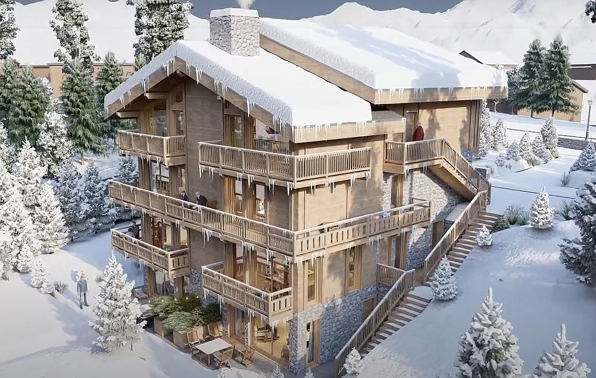 Exterior of the apartments for sale in Courchevel