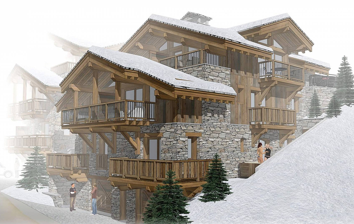 The  off plan ski chalets 50m from the slopes