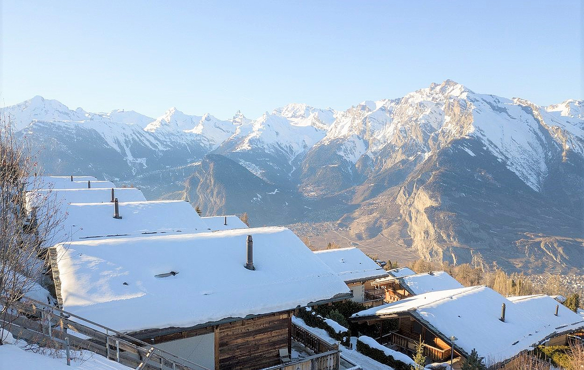 Views looking down over the chalet