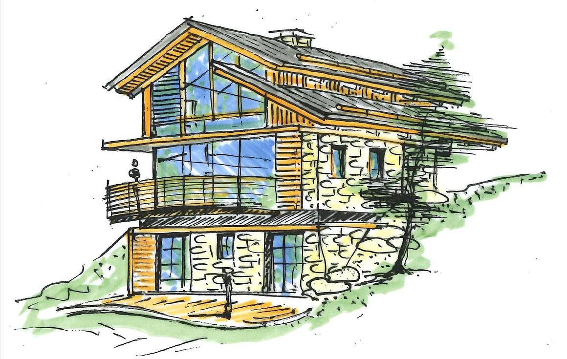 Artists sketch of chalet to be built in St Martin de Belleville