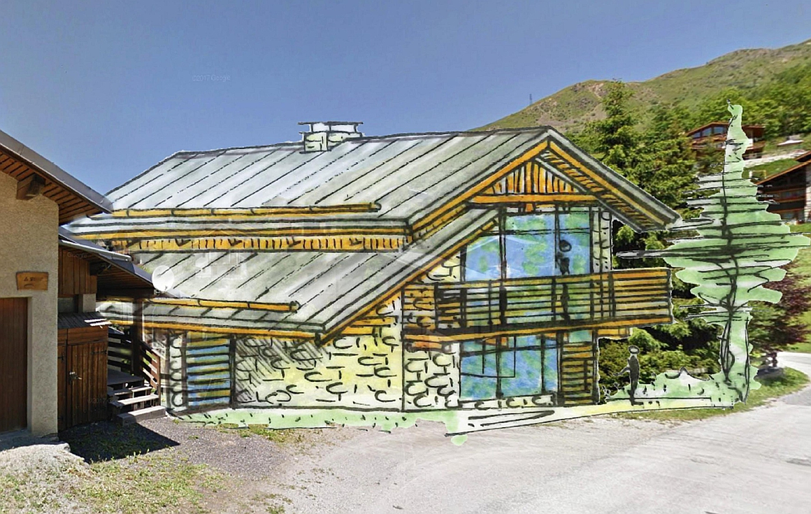 The artists drawing of the ski chalet for sale
