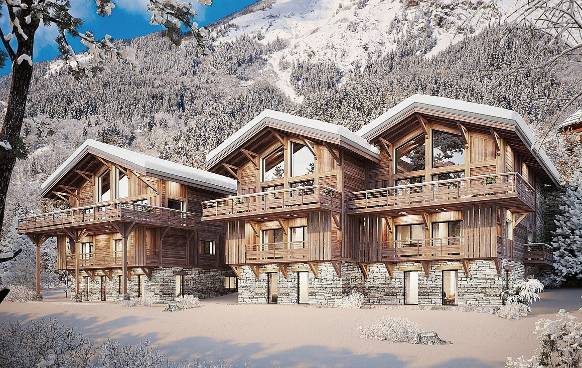 The luxurious development of chalets and apartments