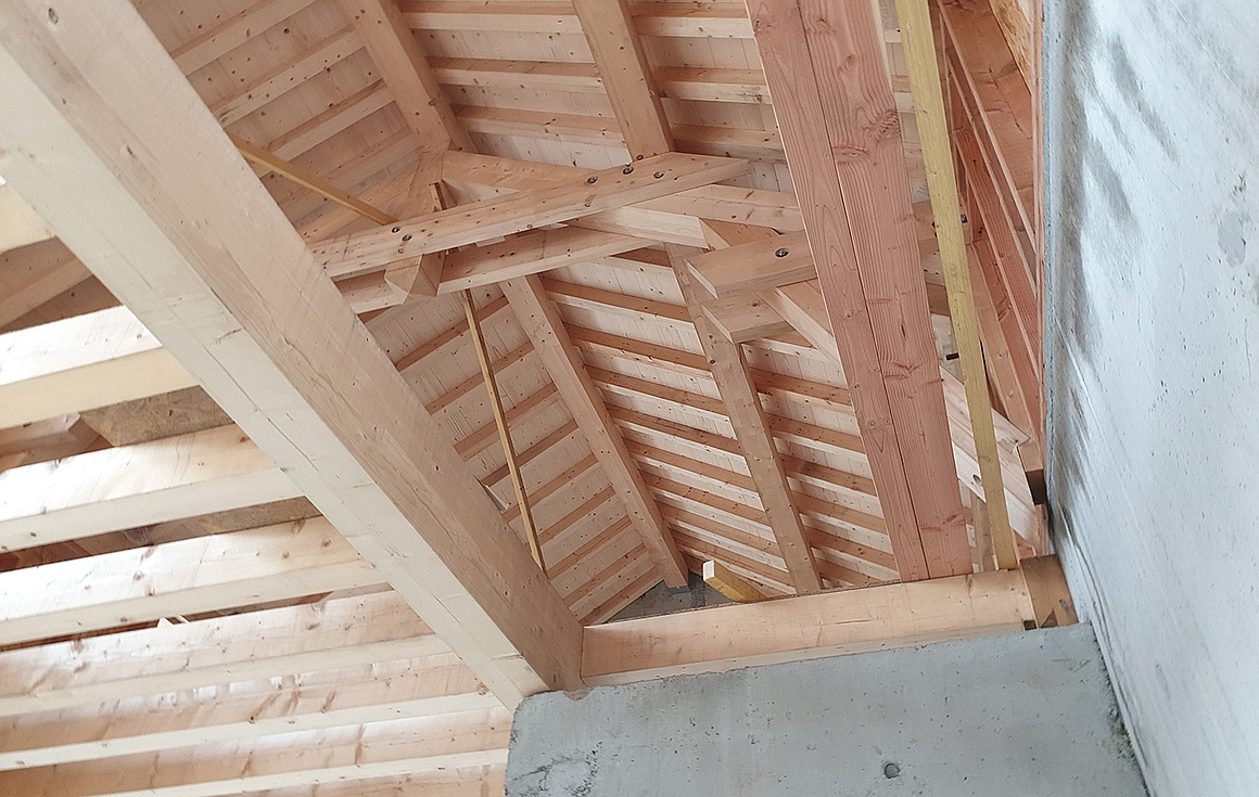 Wood beam ceilings in the chalets for sale