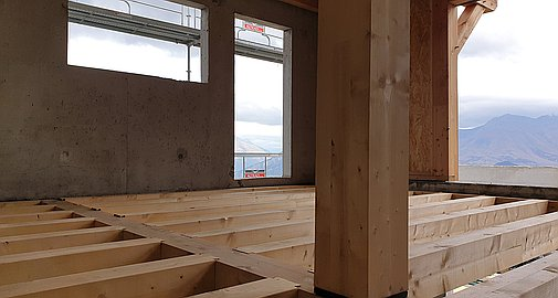 Interiors of chalets under construction