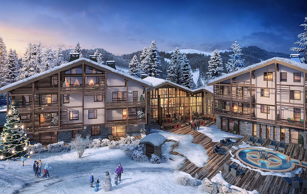 Exterior of apartments for sale in Megeve