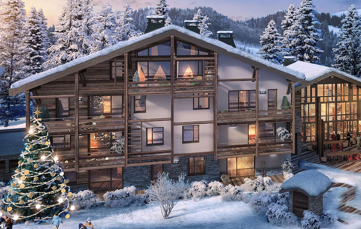 The exterior of the Megeve apartments for sale