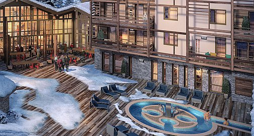 Exterior pools within the new complex for sale in Megeve