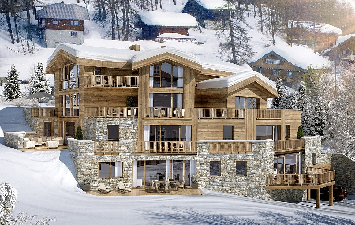 Exterior impression of finished apartments for sale in Val d'Isere
